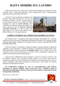 pci volantino 2019-07-16 - incidente mortale Acciaieria Taranto